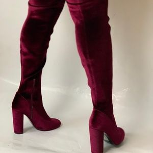51c80487049 Nasty Gal Shoes - Red velvet thigh high boots